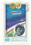 Sellos de Asia - Mongolia -  Intercosmos programa espacial de cooperacion con URSS.  Gagarin y Vostok I.