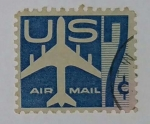 Stamps United States -  U.S. Air Mail 7c Azul
