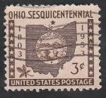 Sellos del Mundo : America : Estados_Unidos : 569 - 150 Anivº del Estado de Ohio, en la Unión