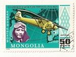 Stamps Mongolia -  Historia de la aviacion. Charles A. Lindbergh. Spirit of St, Louis. New York-Paris 20,21mayo 1927.