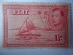 Sellos de Oceania - Fiji -  King George VI - Canoa con Vela y Balancines.