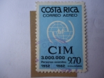 Sellos de America - Costa Rica -  CIM-Emblema-30 Años de Comité Internacional para Emigración-3.000.000 personas asistidas