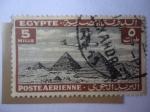 Sellos de Africa - Egipto -  Avión Sobrevolando las Pirámides de Giza - Correo Aéreo 1926/53