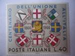 Sellos del Mundo : Europa : Italia : Unión de Venecia y Mantua con Italia-Centenario de la Unión 1866-1966-Escudos de Armas.