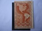 Stamps America - Cuba -  Mapa de América - Centenario del Primer Sello  Postal Usado en las Américas.- (1843-1943)