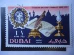 Stamps Asia - United Arab Emirates -  Centenario de la Muerte de Charles Dickens (1870-1970) Novelista Ingles. Firma, Lámpara pluma