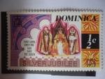 Stamps Dominica -  25 Aniversario de la Reina Elizabeth II (1952-1977)-Bodas de Plata-Primer Greting: