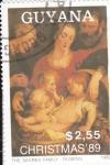 Stamps : America : Guyana :  NAVIDAD-89 SAGRADA FAMILIA-RUBENS