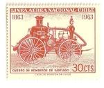 Stamps Chile -  Cent. de la brigada de bomberos de Santiago. Coche de bomberos de 1860.