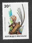 Stamps : Africa : Rwanda :  Instrumento Musical Africano