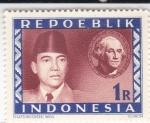 Sellos de Asia - Indonesia -  Presidente Sukarno y George Washington