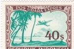 Stamps Indonesia -  PAISAJE Y AVIÓN
