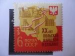 Stamps : Europe : Russia :  Mapa y Agricultura - 20°Aniversario de la República Polaca