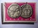 Stamps Europe - Greece -  Monedas Antiguas - Apolo y Lira- Calcídica, Macedonia- $ Centenario B.C.