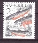 Sellos de Europa - Suecia -  serie- Peces