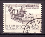 Stamps Europe - Sweden -  Transporte de troncos por tierra