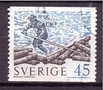 Stamps Europe - Sweden -  Transporte de troncos por río