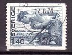Stamps Europe - Sweden -  75 aniv. Transporte de troncos por río
