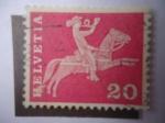 Stamps Switzerland -  cartero a Caballo - 19 Centenario