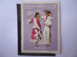 Stamps : America : Colombia :  Cumbia - Trajes y melodías populares.