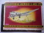 Stamps : America : Colombia :  Douglas DC3, 1944. Historia de la Aviación Colombiana. Dibujo de mosdóssy