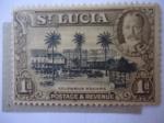 Sellos del Mundo : America : Santa_Lucia : Columbus Square - King George V.