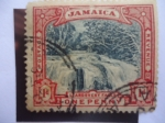 Sellos del Mundo : Europa : Reino_Unido :  Llandovery Falls - Cascada -Establecimiento de Jamaica como territorio Británico.
