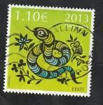 Stamps : Europe : Estonia :  698 - Año Lunar chino de la serpiente
