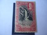 Sellos de America - Santa Lucía -  Ventine Falls - Cascada y Paisaje - Serie: King George V.