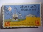 Stamps of the world : Iraq :  Puerto de Umm Qasr (Río Tigris y Eufrates) 9° Aniversario de la revolución.