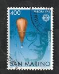 Sellos del Mundo : Europa : San_Marino :  1074 - Europa Cept. Explorando la estratosfera en aerostático. Trabajo del profesor Auguste Piccard