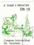 Sellos de Africa - Santo Tomé y Principe -  CONGRESO INTERNACIONAL DE ESCUTISMO