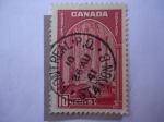 Stamps : America : Canada :  Cámara Conmemorativa, Edificio del Parlamento-Ottawa. Serie:King George VI 1937/58.