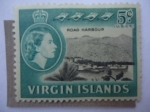Stamps America - Virgin Islands -  Road Harbour - Serie: Queen Elizabeth II