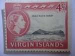 Stamps America - Virgin Islands -  Dead Man´s CHest. Serie: Queen Elizabeth II.