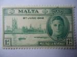 Stamps Malta -  Aniversario de Victoria, 8 de Junio 1946 - King George VI