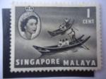 Stamps Singapore -  Sampanes Chinos - Serie Queen Elizabeth II