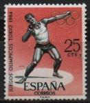 Sellos de Europa - España -  Juegos Olimpicos d´Innsbruck y Tokio (Salto d´Longitud )