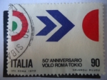 Stamps Italy -  Vuelo Roma-Tokio - 50 Aniversario.