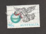 Sellos de Oceania - Australia -  Angel enarbolando cinta roja