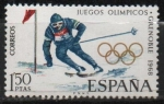 Stamps : Europe : Spain :  X Juegos Olimpicon d´invierno en Grenoble (Esqui)