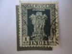 Sellos de Asia - India -  Pilares de Ashoka - Pilares de 4 leones.