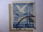 de Asia - Turquía -  Feria Internacional de Izmir Fuari, (20-08-1947)-Paloma y Bandera