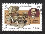 Sellos del Mundo : Asia : Afganistán : Automóviles, Peugeot vis-à-vis (1892) y Armand Peugeot