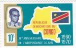 Stamps : Africa : Democratic_Republic_of_the_Congo :  10º ANIVERSARIO DE LA INDEPENDENCIA