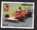 Sellos del Mundo : America : Paraguay : Piloto de Fórmula 1, Niki Lauda ,Ferrari 312 B