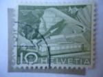 Stamps Europe - Switzerland -  Tren en las Montañas de los Alpes Suizo - Roche de Naye