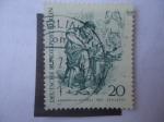 Stamps Europe - Germany -  Adolph Von Menzel (1815-1905) Pintor- Dibujo de la gente de Berlín (1833)
