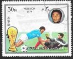 Stamps Asia - United Arab Emirates -  Fujeira - Mundial Fútbol Munich 1974, Eusebio de Portugal
