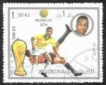 Stamps Asia - United Arab Emirates -  Fujeira - Mundial Fútbol Munich 1974, Pele de Brasil